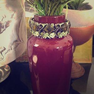 Swarovski Crystal Bracelet. Green w/ Floral Design